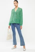 edit - Chiffon mandarin collar shirt - green