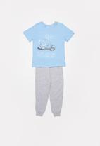POP CANDY - Pants & short sleeve tee pj set - grey & blue