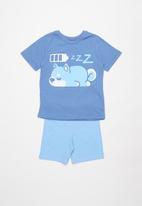 POP CANDY - Shorts & short sleeve tee pj set - blue &  grey