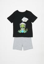 POP CANDY - Shorts & short sleeve tee pj set - black & grey