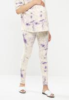 Missguided - Maternity tie dye legging - white & purple