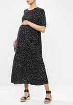 Missguided - Maternity polka dot midaxi smock dress - black & white