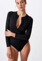 Cotton On - Zip front long sleeve one piece cheeky - black