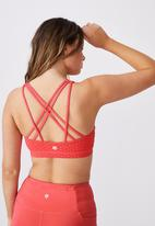 Cotton On - Strappy sports crop - summer punch pink texture