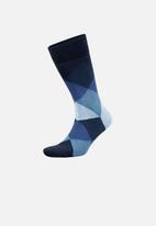 Falke - Fancy argle - navy & blue