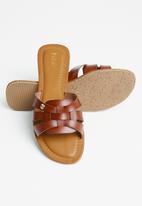 POLO - Hanna 3 strap flat sandal - brown