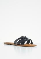 POLO - Hanna 3 strap flat sandal - black
