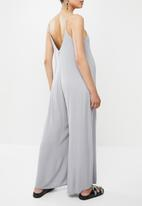 Missguided - Maternity cheesecloth wide leg jumpsuit - grey