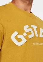 G-Star RAW - Felt applique logo slim tee - yellow