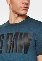 G-Star RAW - Double dye logo + r tee - blue & black