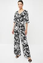 edit - Femme wide leg jumpsuit - black & white