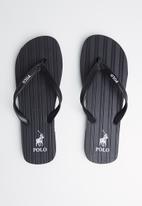 POLO - Andy plain striped flip flop - black