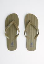 POLO - Andy plain striped flip flop - olive