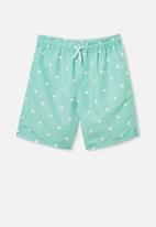Free by Cotton On - Boys bailey boardshort - green & white