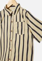 Free by Cotton On - Boys resort short sleeve shirt - neutral & black