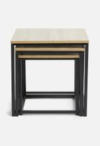 H&S - Nesting table set of 3 - black & natural