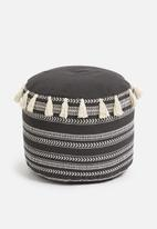 Sixth Floor - Woven pouf with tassel - black & neutral