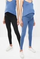 Superbalist - 2 Pack fold over leggings - black & blue