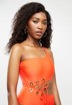 Missguided - One shoulder cut out eyelet swimsuit - orange
