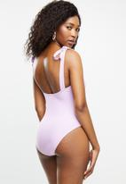 Missguided - Square neck tie shoulder corset swimsuit - purple