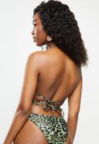 Missguided - Animal print ruched tie back bikini top - green & black