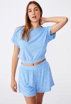 Cotton On - Tyler waisted short sleeve tee - poolside blue