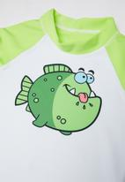 POP CANDY - Boys long sleeve rashvest - green & white