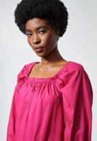 Superbalist - Square neck cotton trapeze dress - pink