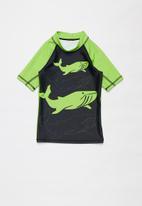 POP CANDY - Boys short sleeve rashvest - green & black