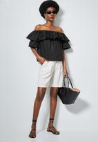 Superbalist - Double frill off the shoulder blouse - black
