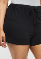 Missguided - Plus size tie front jogger short - black