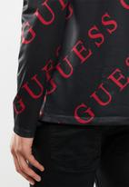 GUESS - Long sleeve guess logo printed crew - black