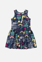 Bee Loop - Girls rainbow dress - navy