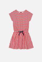 Bee Loop - Girls stripe dress - red & white