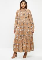 edit Plus - Long sleeve tiered maxi floral dress - brown