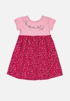 Bee Loop - Girls printed short sleeve dress - pink