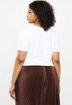 Blake - Wrap front detail crop top with short sleeve - white