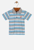 UP Baby - Boys striped polo - grey & blue