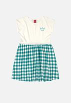 Bee Loop - Girls check dress - off white & blue