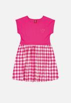 Bee Loop - Girls check dress - dark pink