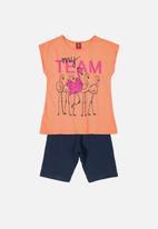 Bee Loop - Girls flamingo tee & shorts set - orange & navy