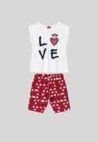 Bee Loop - Girls tshirt & bermuda set - white & red