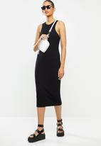 Blake - Ribbed racer bodycon midi dress - black