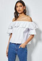 Superbalist - Double frill off the shoulder blouse - white