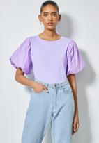 Superbalist - Combo fabric puff sleeve top -lilac