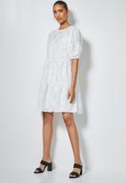 Superbalist - Textured fabric babydoll tiered dress  - milk