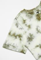 Cotton On - The cruz short sleeve long line tee - silver sage tie dye