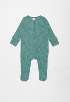 Cotton On - Organic newborn zip through romper - deep pool blue/gumnuts