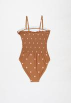 Free by Cotton On - Hailee shirred one piece - amber brown