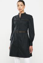 edit - Lace inset longline shirt - black